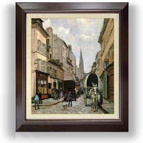 シスレー アルジャントイユの大通り F10 油絵直筆仕上げ| 絵画 10号 複製画 ブラウン額縁 675×601mm