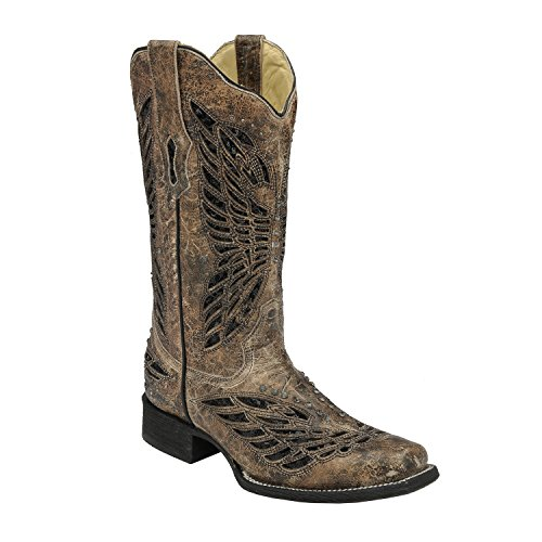 Corral Women's Butterfly Sequin Inlay Cowgirl Boot Square Toe Tan 6.5 M US