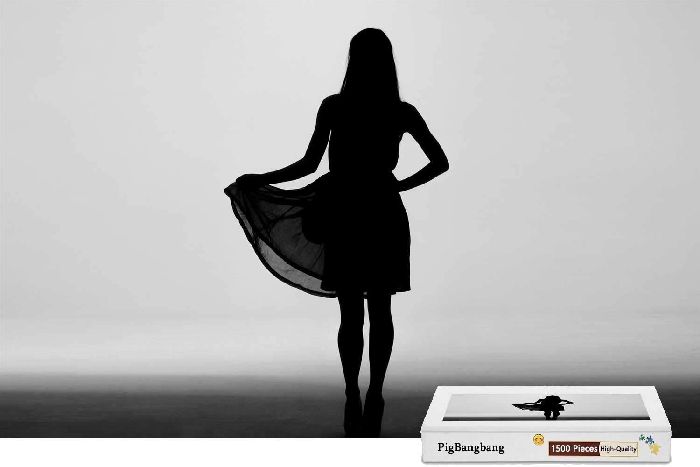【オープニングセール】 PigBangbang、プレミアムバスウッド B07HF7Y3QF ラージサイズ ガール シルエットスカート ガール - 1500ピース ジグソーパズル (34.4 (34.4 X 22.6インチ) B07HF7Y3QF, SOREGET:fda61d1f --- a0267596.xsph.ru