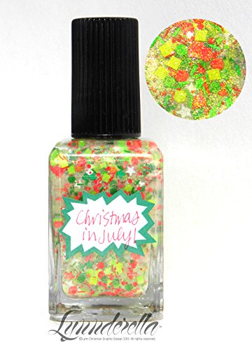 Lynnderella Limited Edition Multi Glitter Neon Nail Polish—Christmas in July! (Neon Fingernails)