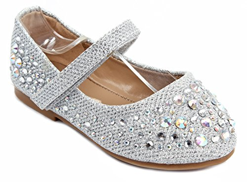 ad8bc7a1b815 Amazon.com | Baby Girls Karra Silver Bowknot Bling Glitter Mary Jane Infant  Toddler Dress Flat Shoes | Ballet