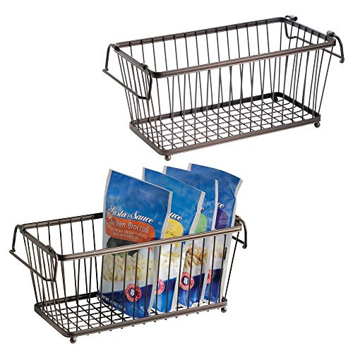 mDesign Household Stackable Metal Wire Storage Organizer Bin Basket with Built-In Handles for Kitchen Cabinets, Pantry, Closets, Bedrooms, Bathrooms - 12.5