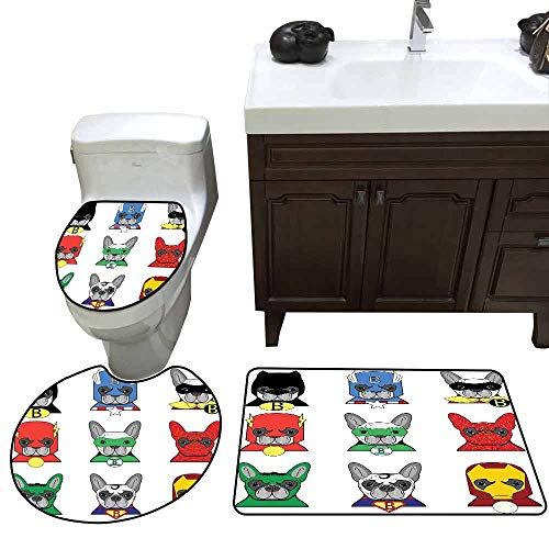 3 Piece Toilet Cover Set Superhero Bulldog Superheroes Fun Cartoon Puppies in Disguise Costume Dogs with Masks Print Widen Multicolor]()