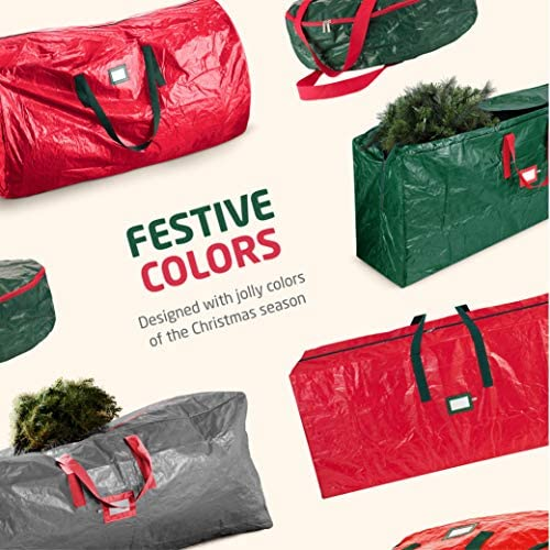 2-Pack Christmas Tree Storage Bag – Artificial Disassembled Tree; Durable Reinforced Handles & Dual Zipper - Waterproof Material Protects from Dust, Moisture & Insect (7.5 Ft., Green)
