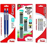 Pentel Sharp Automatic Pencil, 0.7mm, Blue Barrels, 2 Pack, with 0.7mm Lead Refill and Z21 Eraser Refill (Bundle)
