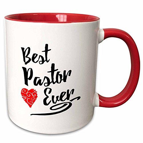 3dRose Russ Billington Designs - Best Pastor Ever Design in Black Script with Red Heart Motif - 11oz Two-Tone Red Mug - Cover Pastors