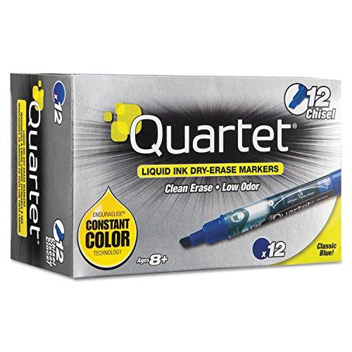 Quartet 50013M EnduraGlide Dry Erase Marker, Chisel Tip, Blue, Dozen
