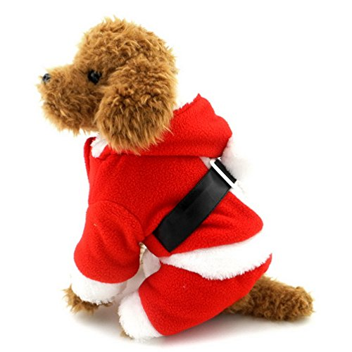 SELMAI Dog Santa Claus Costume Fleece Coat Pet Christmas Outfits Red for Small Boy S