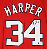 Bryce Harper Washington Nationals Signed Autographed Red #34 Custom Jersey COA