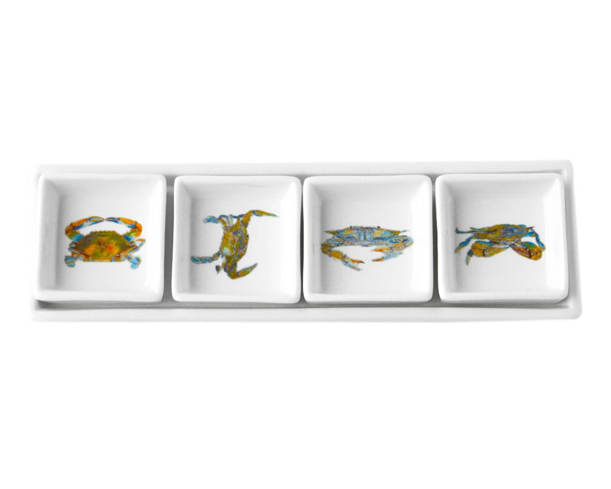 Kim Rody Creations Blue Crab Rectangle Dip Set That Hold Four Square Dishes - 11.25x3.25x3 by Kim Rody Creations (Image #2)