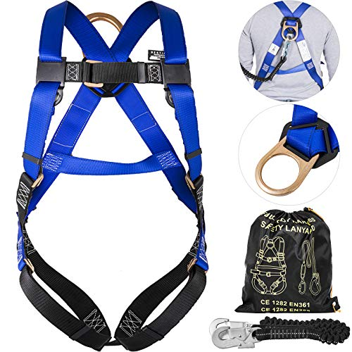 Happybuy Fall Protection Full Body Construction Harness with Shock Absorbing Lanyard Combo Set Perfect for Construction Workers Carpenters Painters Roofers (Lanyard + Harness) ()