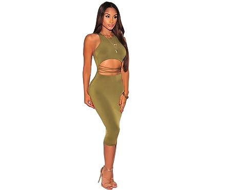 bd052edfd7 2017 Vestidos De Fiesta Sexys Cortos Casuales Ropa De Moda Para Mujer De  Noche Elegantes Verdes y Negros DR00340 - Green -  Amazon.co.uk  Clothing
