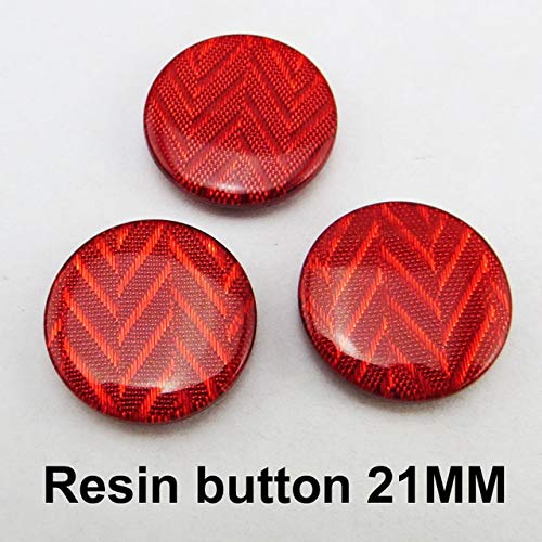 Maslin 20PCS 21MM Stripe Champagne Button Dyed Resin Buttons Coat Boots Sewing Clothes Accessories R-010 - (Color: Red)