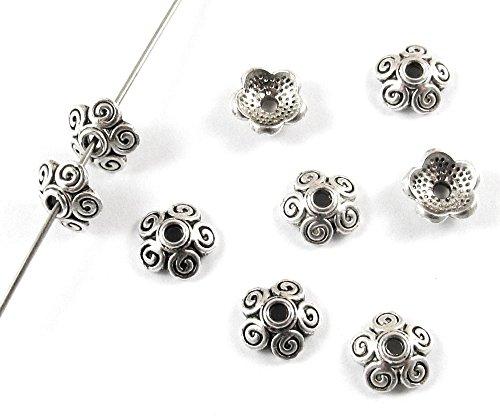 Swirl Silver Beads - Metal Bead Caps-SILVER SWIRL DESIGN 8mm (50 Pieces)