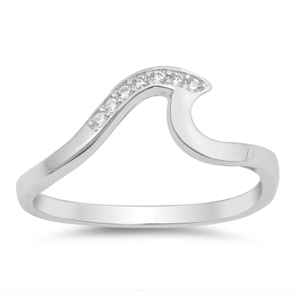 CloseoutWarehouse Clear Cubic Zirconia Classic Ocean Wave Ring Sterling Silver Size 9