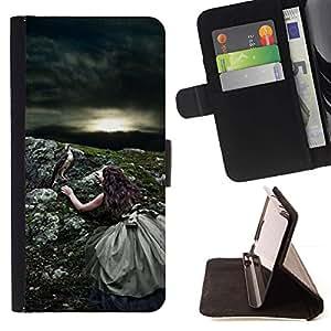 Momo Phone Case / Flip Funda de Cuero Case Cover - Naturaleza Sun Pájaro Tormenta de verano - Samsung Galaxy E5 E500