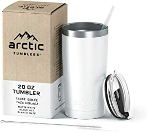 Arctic Tumblers Stainless Steel Camping & Travel Tumbler with Splash Proof Lid and Straw, Double Wall Vacuum Insulated, Premium Insulated Thermos - (Matte White Powder Coat, 20 oz)