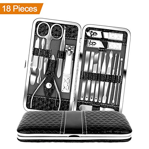 - Teamkio 18pcs Stainless Steel Professional Manicure Pedicure Set| Nail Clippers Travel Hygiene Nail Cutter Care Set| Scissor Tweezers Knife Ear Pick Grooming Kits with Leather Case
