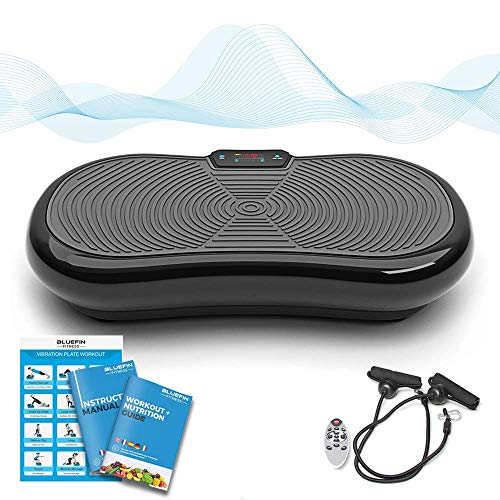 Bluefin Fitness Ultra Slim Vibration Plate | Lose Fat & Tone Up at Home | 5 Programs + 180 Levels | Bluetooth Speakers | Easy Storage | Sleek UK Design (Black)