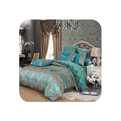 Home Bedding Set Jacquard Duvet Cover Set 4pcs/Set Embroidery Bed linens Luxurious Bedclothes Super King Bed,Peacock Green,200 by 230,Flat Bed Sheet (Peacock Bed Set)