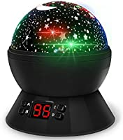 Lamp de Projection Enfant Veilleuse Bébé Etoile Lampe de Chevet d'Ambiance 360° Rotation Romantique avec LED Minuterie Auto Shut-Off pour Cadeau Fille Fils Anniversaire Soirée Noël Ambiance Créatif (Noir)