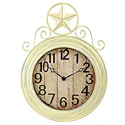 ANDREW FAMILY 22 H Antique Ivory Wall Hanging Clock with Star Top Large Number Home Décor