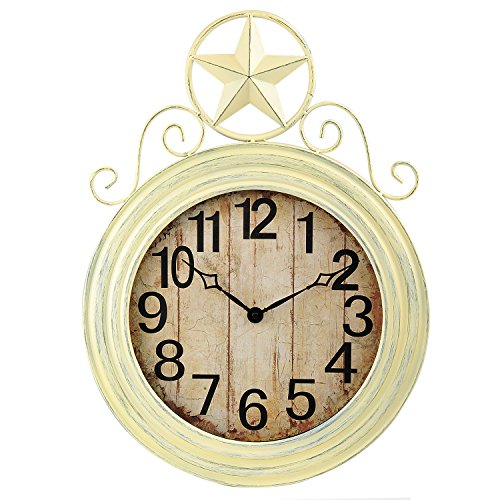 ANDREW FAMILY Antique Ivory Wall Hanging Clock with Star Top