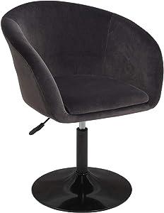 Duhome Jumbo Size Velvet Accent Chair Vanity Stool Chairs Makeup Dressing Chair Round Swivel Pub Bar Dark Grey