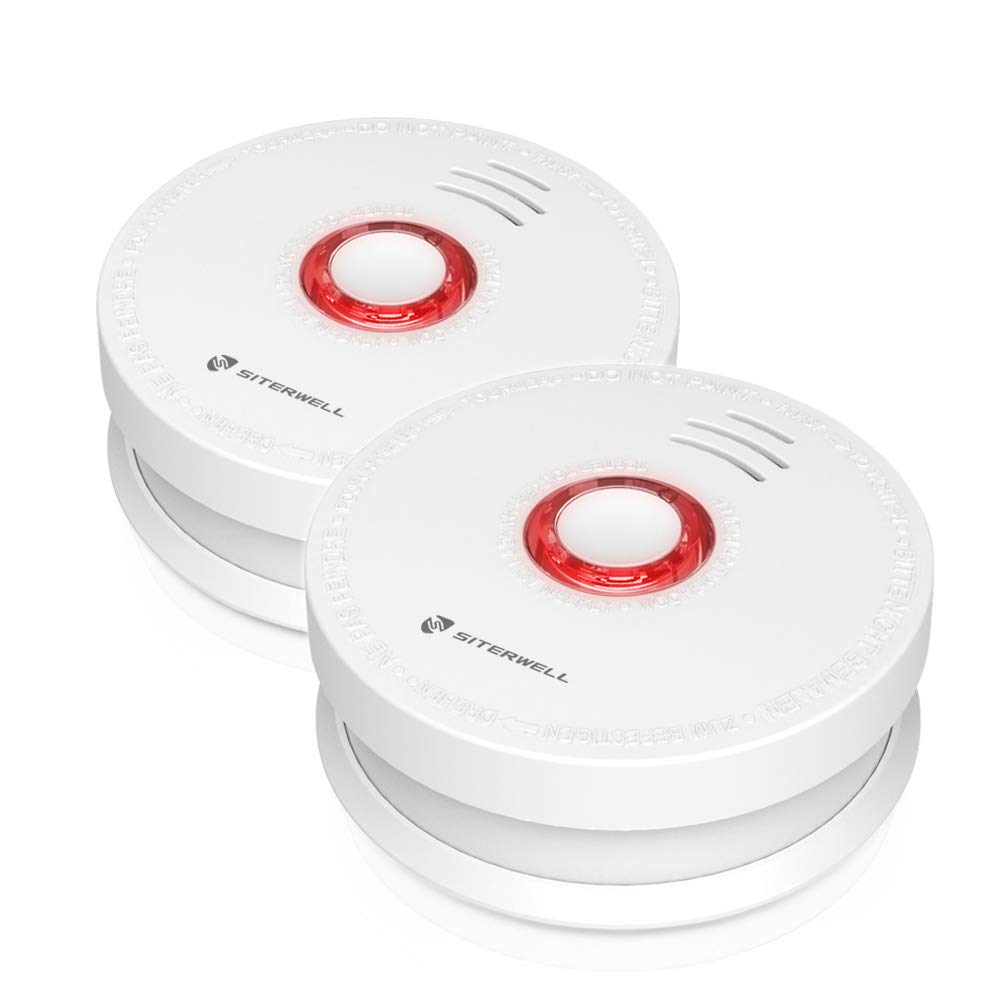 2 Pack SITERWELL Smoke Detector and Battery Operated Smoke and Fire Alarm 10 Years Photoelectric Smoke Alarm with UL Listed 9V Battery Included GS528A