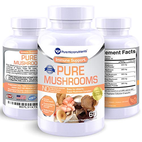 Pure Mushroom Supplement – Lions Mane, Reishi, Chaga, Cordyceps Turkey Tail – Premium Immune System Booster Nootropic Brain Complex for Energy, Memory Focus – 60 Vegan – Pure Micronutrients