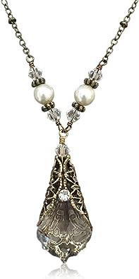 Antique Bronze Tone Crystal Prism Pendant Necklace