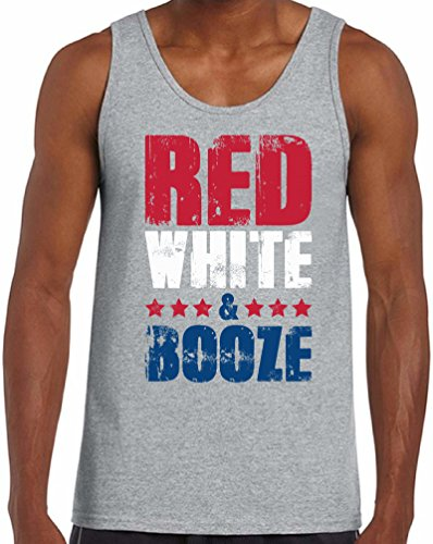 (Awkward Styles Men's Red White and Booze Tank Tops USA Flag 4th of July Party Grey XL)