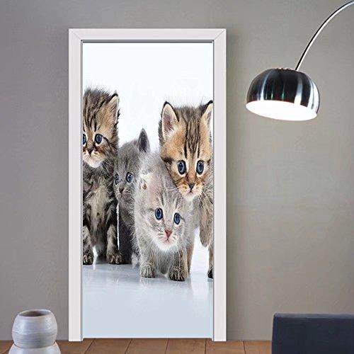 Gzhihine custom made 3d door stickers Kitten Animal Theme Walking Cute Little Kittens on White Background Digital Print Grey and White For Room Decor 30x79 by Gzhihine