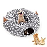 Large Cat Dog Tunnel Bed with Washable Plush Cushion Big Tube Toys Small Medium 6 FT Diameter Longer Crinkle Collapsible 3 Way - Gift For Kitten Puppy Rabbit Ferret - Grey Outdoor - Amazon Vine