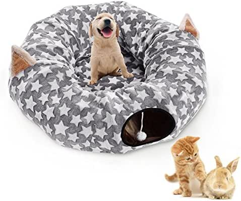 Large Cat Dog Tunnel Bed with Washable Plush Cushion Big Tube Toys Small Medium 6 FT Diameter Longer Crinkle Collapsible 3 Way,Gift For Kitten Puppy Rabbit Ferret,Grey Outdoor - Amazon Vine