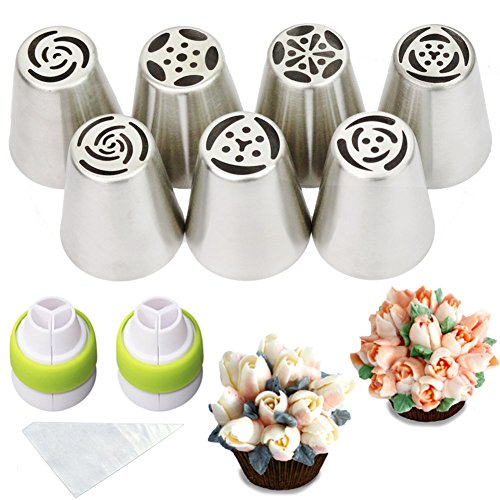 Cofe-BY Russian Piping Tips set 19-Pcs Floral Frosting Icing Nozzles for Cakes Decoration (7 Russian Tips 10 Disposable Pastry Bags 2 Tri-Color Couplers) Christmas Gifts