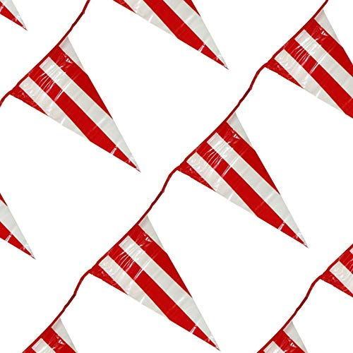 100 Feet Red & White Pennant Banner, Carnival Decorations, Summer Party Décor, Parties Supplies, Outdoor Fun Accessory, By 4E's Novelty -