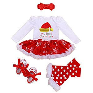 4Pcs My First Christmas Costume Newborn Baby Girl Tutu Dress XMAS Gift Outfits