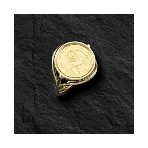 24-Kt-Chinese-Panda-Bear-Coin-Set-In-14-Kt-Solid-Yellow-Gold-Coin-Ring-1548-Random-Year-Coin