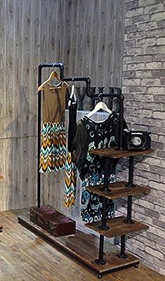 Industrial Pipe Clothing Rack Wood Garment Rack Pipeline Vintage Rolling Rack with wheels 4-LVL H63''xL47''
