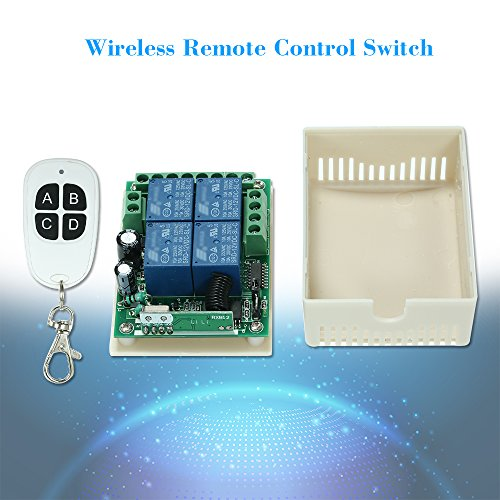 Walmeck Wireless RF Switch Long Range 433Mhz 4CH DC12V Relay Receiver Module Transmitter Toggle Switch RF Relay by Walmeck (Image #1)