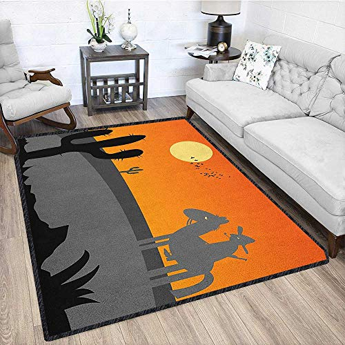 """Southwestern Modern Area Rug with Non-Skid,Cartoon Style Hot Mexico Desert Landscape with Saguaro Cactus and Horse Rider Stain Resistant & Easy to Clean Multicolor 67""""x102"""""""