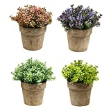 HEBE 4 Pack Artificial Mini Plants Potted Plastic in Pots for Home Decor Small Potted Artificial Fake Plants for Bathroom Kitchen Wedding Table Desk Decor