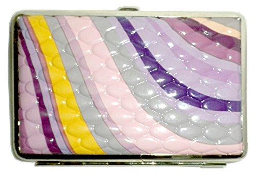 Credit Card Cigarette Case Wallet (Swirl Mini Hard Frame clutch Wallet credit card cigarette storage case (Purple Swirl))