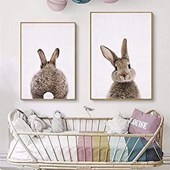 JESC Lovely Rabbit Tail Bunny Canvas Painting Nursery Wall Art Animal Poster Print Picture Baby Girls Room Home Decor No Frame 2PCS