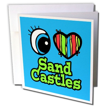 3dRose Dooni Designs Eye Heart I Love Designs - Bright Eye Heart I Love Sand Castles - 6 Greeting Cards with envelopes (gc_106482_1)