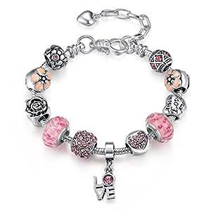 Red Diamond Large Hole Glass Beaded Flower Decoration Bracelet Love Pendant Bracelet Valentine's Day for Girlfriend 18cm