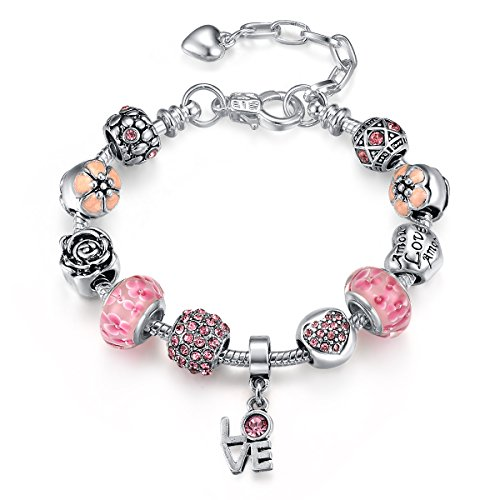 Presentski Fashion Charm Bracelet with Extended Chain for Teen Girls and Women Love Themed Pink Charms
