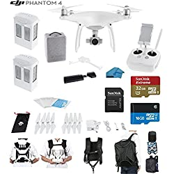 DJI Phantom 4 Quadcopter Drone with 4K Video EVERYTHING YOU NEED KIT + 2 Total DJI Batteries + SanDisk 32GB Micro SDXC Card + Card Reader 3.0 + Carry Strap System + Koozam Backpack
