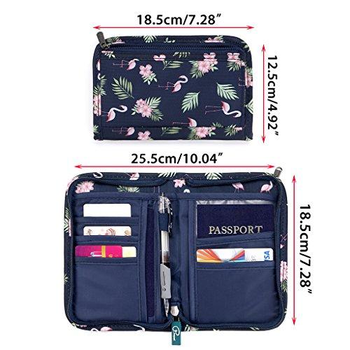 Hipiwe Multifunctional Passport Wallet Purse Hand-hold Printing Travel Passport Holder Case Money Ticket Organizer(Flamingo) by Hipiwe (Image #4)